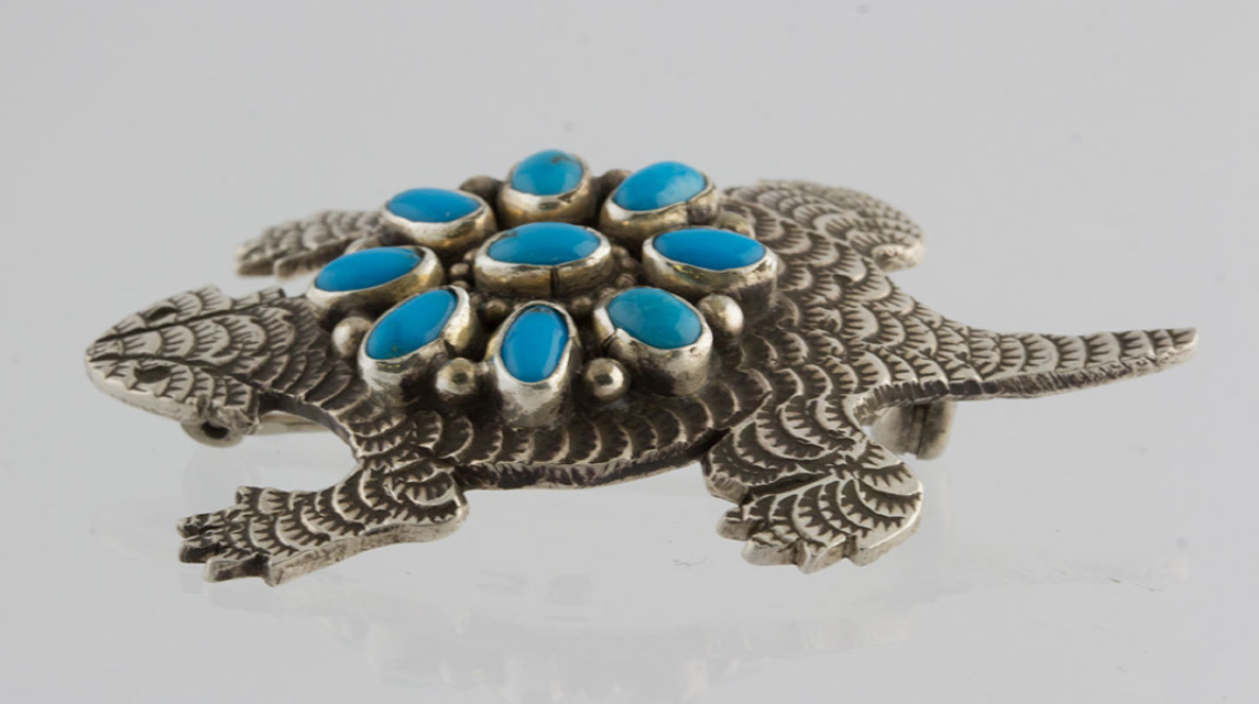 native american navajo sterling silver horned toad turquoise pin by